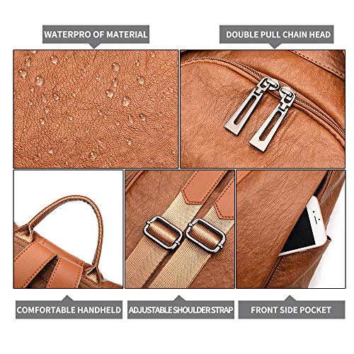 Waterproof Bag Casual Covertible Travel Women Anti Detachable Backpack Shoulder Purse Tan Theft 0xnwIBfvq