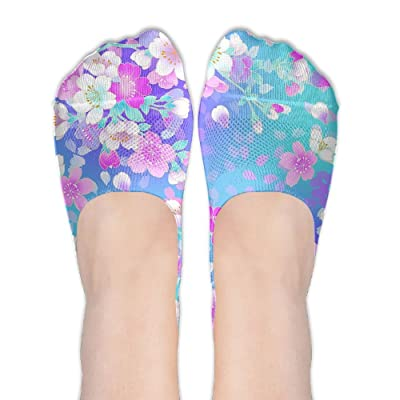 Floral Resolution DIY Printed Pattern Comfortable Low Cut Socks No-show Liner Invisible Polyester Cotton Sock For Ladies (One Pair)