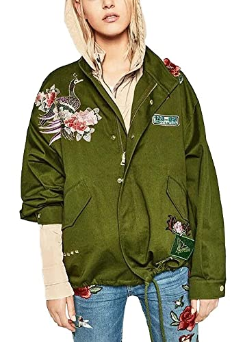 Minetom Coat Jacket Para Mujer Clásico Bombardero Chaqueta Moda Bordado Flores Pájaros Verde Militar...