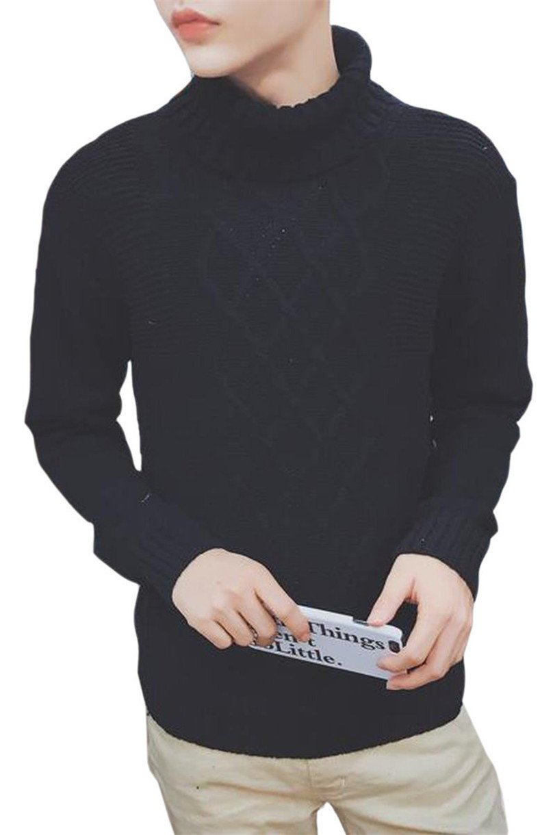 RRINSINS Men's Classic Turtleneck Long Sleeved Plaid Checkered Knit Pullover Sweater Black XS