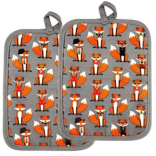 RED LMLDETA Pot Holders Set of 2 Heat Resistant 480 ℉ Non Slip Clear Silicone Printed Comfortable Cotton Lining Kitchen Women Men Cooking Baking Microwave Machine Washable (Fox, Gray Potholders)