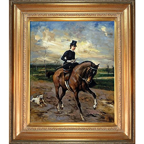 BR &Nameinternal The Amazon with Puppy by Giovanni Boldini, Framed H & Painted Oil with Mediterranean Gold Frame