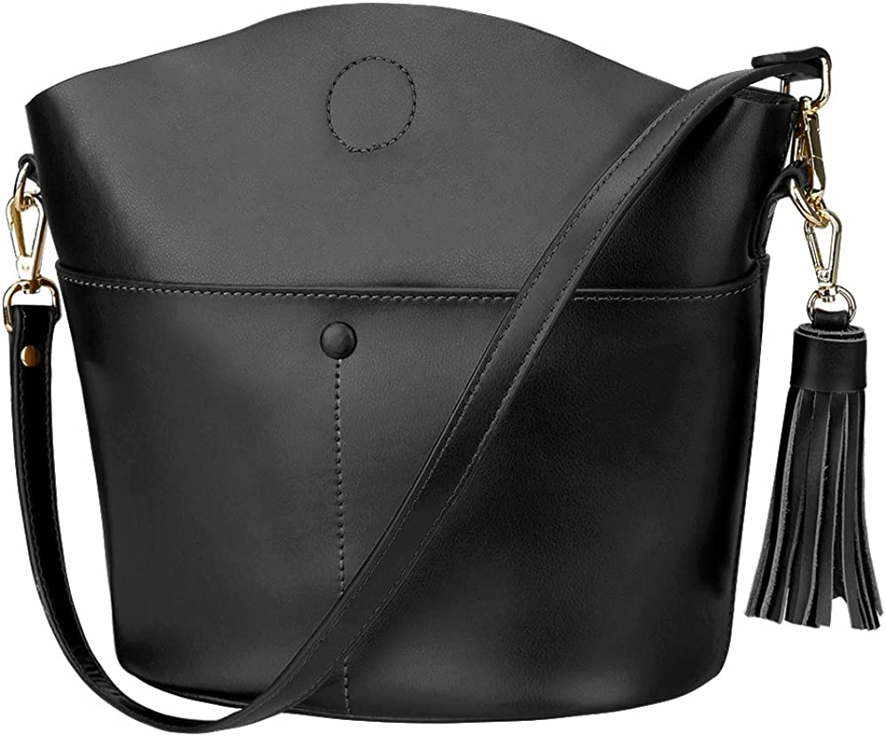 S-ZONE Women Small Cowhide Genuine Leather Crossbody Bag Shoulder Purse Handbag