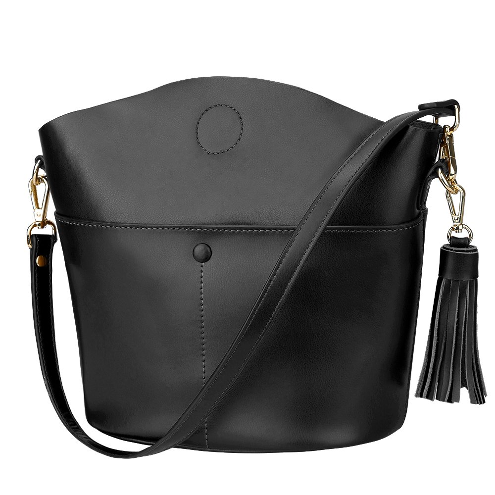 Amazon.com  S-ZONE Women s Cowhide Genuine Leather Small Purse Handbag  Crossbody Shoulder Bag Upgraded Version (Black)  Clothing ac8d24ab8fe3b