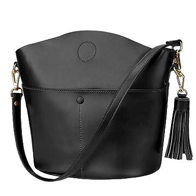 41b5a3607a S-ZONE Women s Cowhide Genuine Leather Small Purse Handbag Crossbody  Shoulder Bag Upgraded Version (