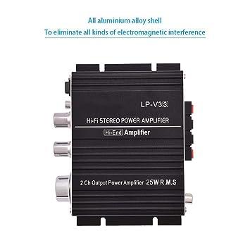 Zerone Mini Amplificador de Potencia de Audio Estéreo HiFi de 2 Canales 25W + 25W Digital