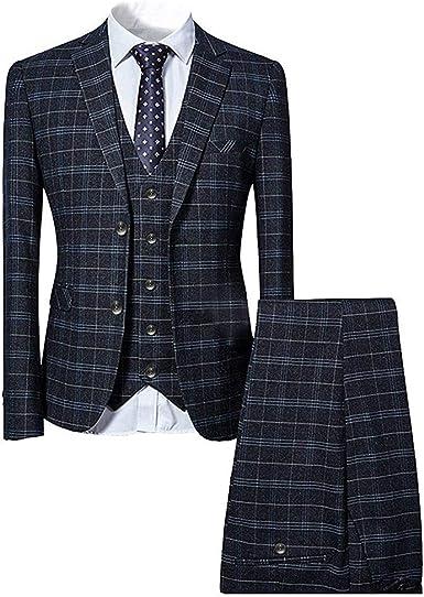 Traje De 3 Piezas Corte Ajustado A Cuadros Azul Y Negro De Una Sola Tira De Botones Clásico Clothing