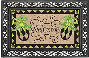 Pineapple,Coir Floormat With Black Rubber Base,28x16 Inches