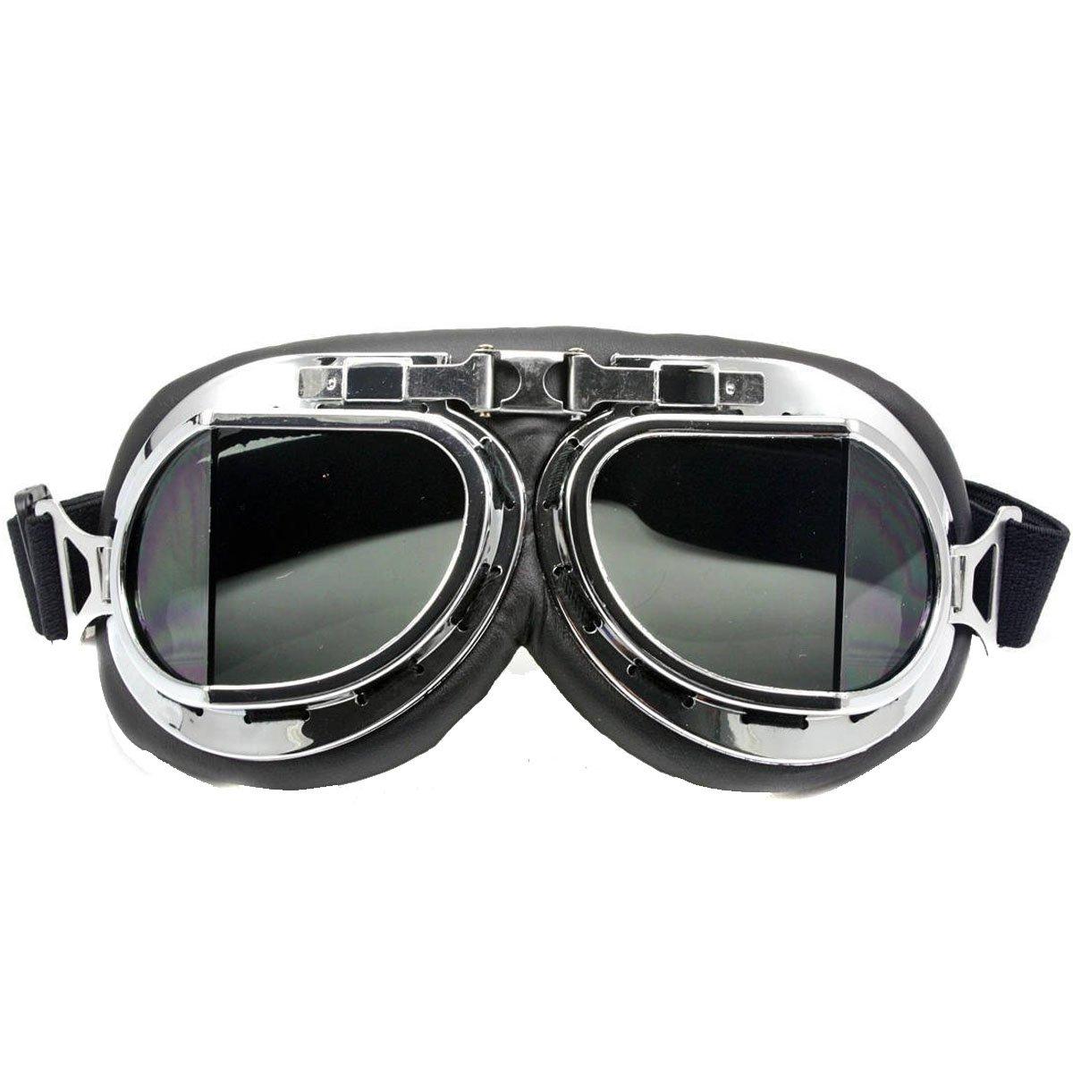 Gafas cromadas de Nsstar para moto, scooter, bicicleta o motocross, protección contra el viento y los rayos UV, diseño de piloto de la RAF, negro, Tamaño libre