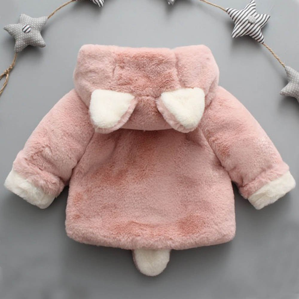 Infant Toddler Baby Girl Winter Warm Rabbit Ears Hoodies Fur Coat Thick Outerwear Snowsuit Jackets(Pink,13/110) by yijiamaoyiyouxia accessory (Image #3)