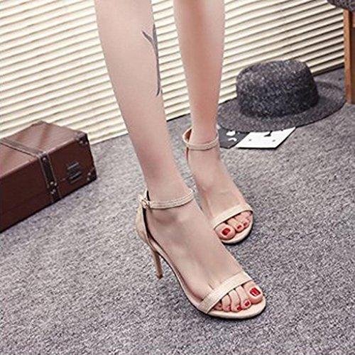 Pure Talon Toe Femme Chaussures Couleur Party Open Beige Sandales Mode Haut Bovake XqRwI