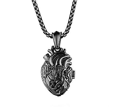 Lbfeel stainless steel anatomical organ heart pendant necklace for lbfeel stainless steel anatomical organ heart pendant necklace for men with a gift box black aloadofball Gallery