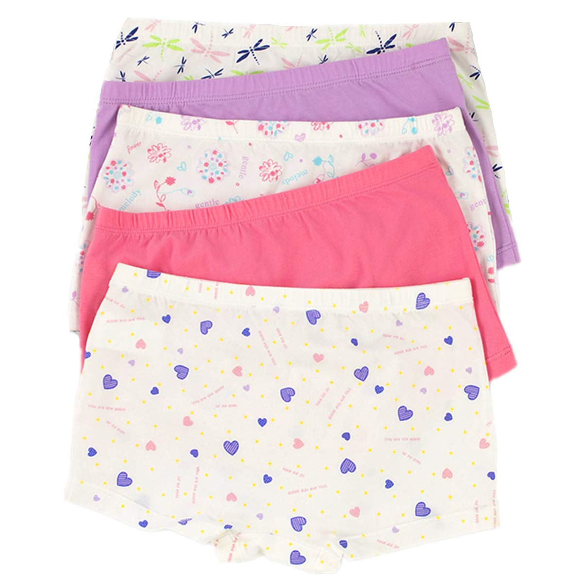 Big Girl's Boyshorts Cartoon Underwear Panties(Pack Of 5) D1345