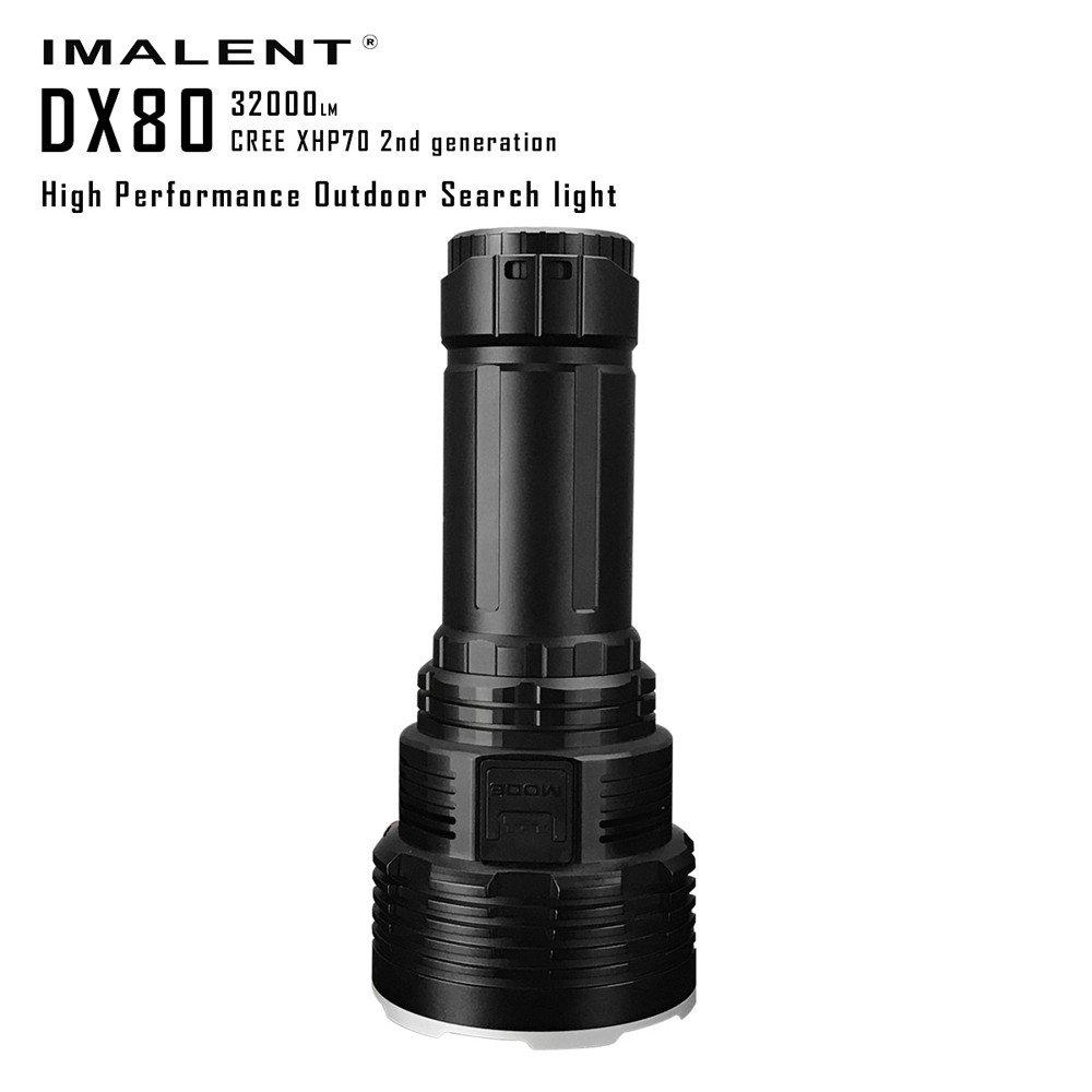 IMALENT DX80 XHP70 LED High Perfomance Outdoor Search Light Most Powerful Flood LED Seach Flashlight Strong Light IPX-8 Waterproof Spotlight (Flashlight, Black)