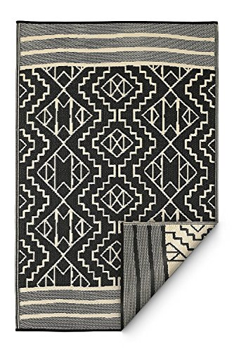 Fab Habitat Reversible Rugs Indoor or Outdoor Use Stain Resistant, Easy to Clean Weather Resistant Floor Mats Kilimanjaro – Black, 4 x 6