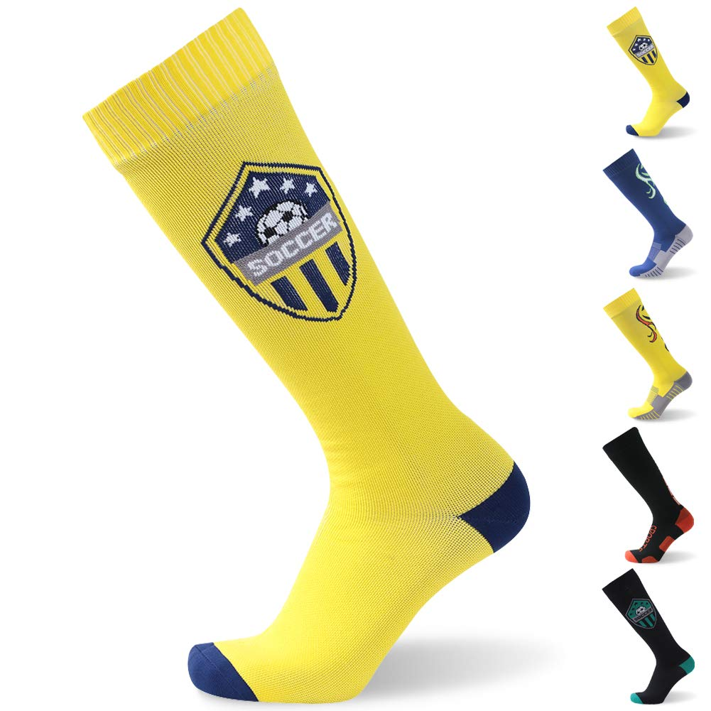 Waterproof Gift Soccer Socks, RANDY SUN Unisex Coolmax Cycling Running Trekking Knee Length Socks, 1 Pair-Yellow-Large by RANDY SUN