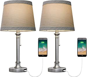 Oneach USB Table Lamp Set of 2 for Bedroom Living Room Office Modern Bedside Desk Lamps Nightstand Lamp Metal Silver Reading Lamp Brushed Steel
