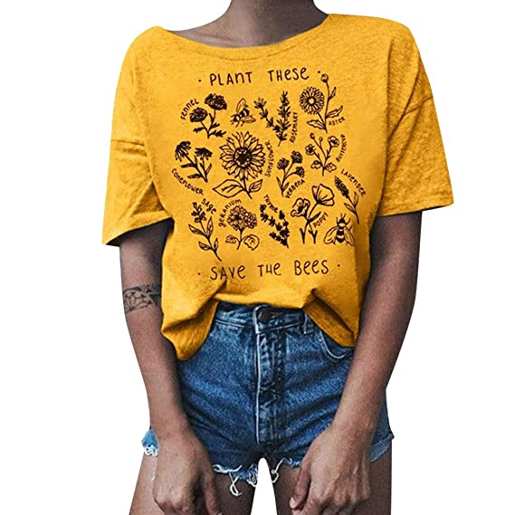 Women/'s Plant These Save The Bees Floral Blouse Short Sleeve Casual Top T-Shirt