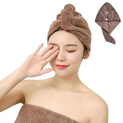 IBLUELOVER Toalla de secado de pelo muy absorbente, turbante para diferentes estilos de pelo,