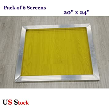 dbea7a80ef6 Image Unavailable. Image not available for. Color  6pcs 20 quot  x 24 quot  Screen  Printing Screen 305 Yellow Mesh Screen Printing Frame Aluminum
