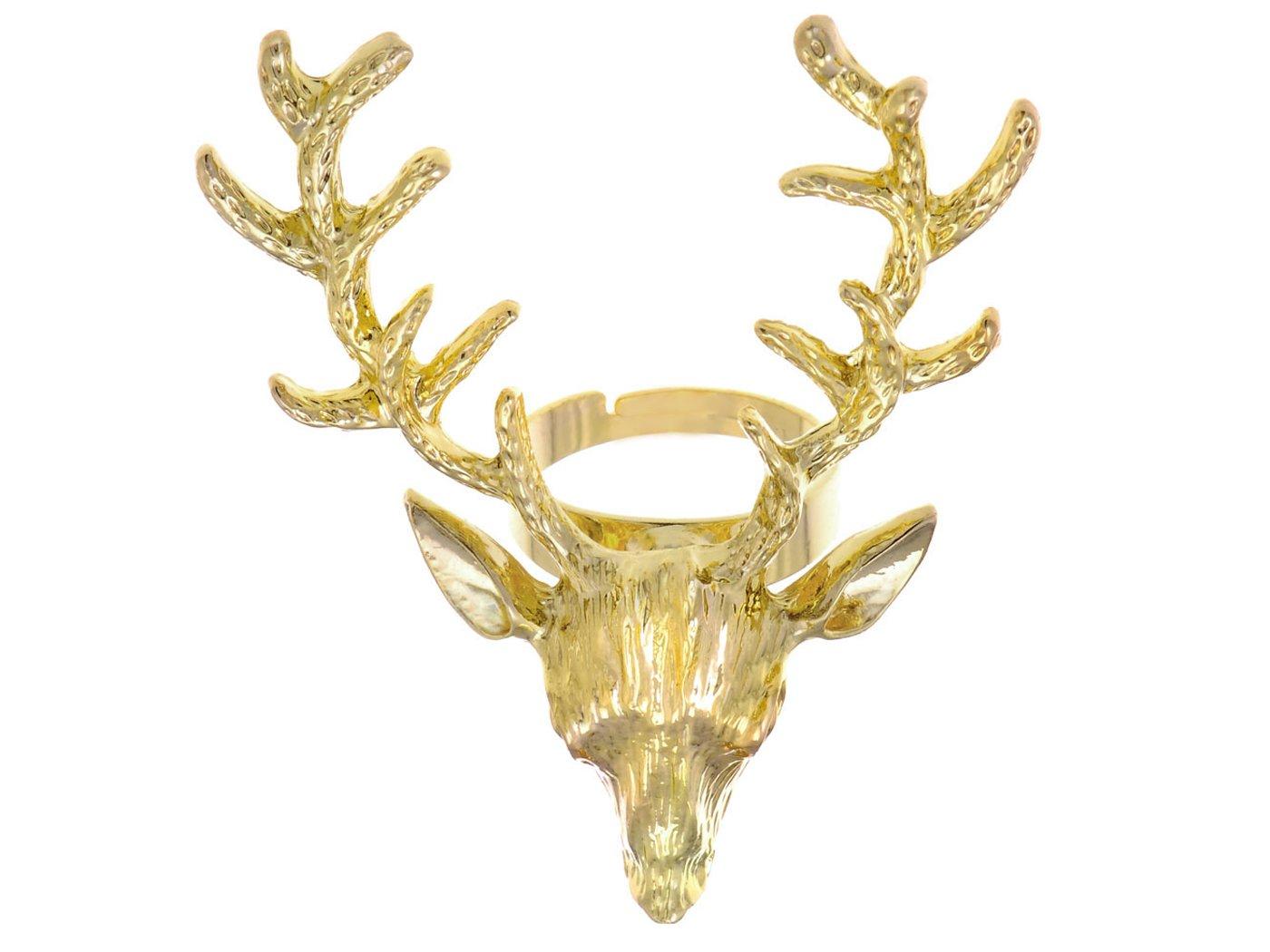 Alilang Womens Vintage Retro Golden Tone Deer Antler Stag Moose Elk Head Animal Adjustable Ring