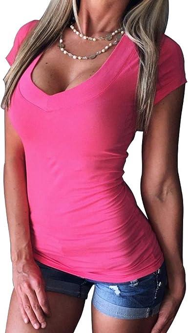 Camisa de Fondo para Mujer Camiseta de Manga Corta con Cuello en V Profundo en Color Liso: Amazon.es: Ropa y accesorios
