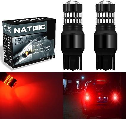 NATGIC 7443 T20 7440 7440NA Bombillas LED Rojo 2400LM 48-SMD 4014 ...