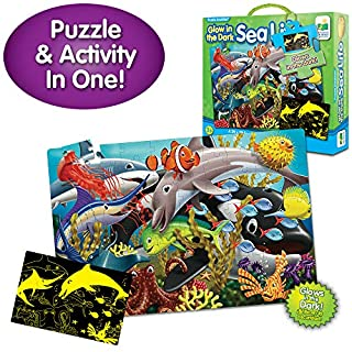The Learning Journey Puzzle Doubles Glow in The Dark - Sea Life - 100 Piece Glow in The Dark Preschool Puzzle (3 x 2 feet) - Educational Gifts for Boys & Girls Ages 3 and Up, Model Number: 115220