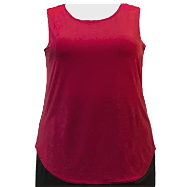 A Personal Touch Women s Plus Size Red Round Scoop Neck Knit Tank Top - 0X