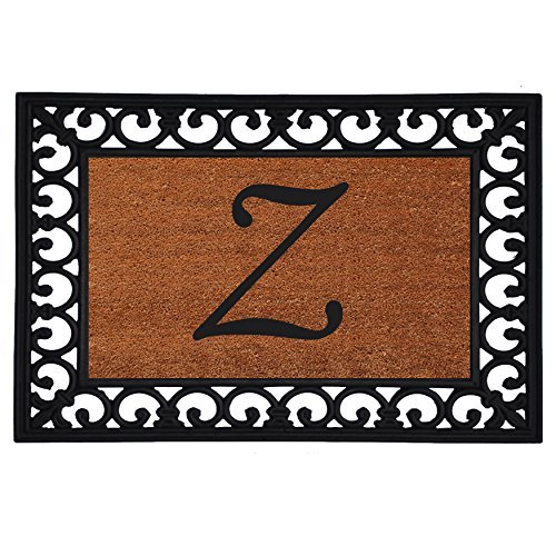 """Home & More 180041925A Inserted Doormat, 19"""" X 25"""" x 0.60"""", Monogrammed Letter A, Natural/Black Calloway Mills"""
