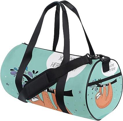 Travel Duffels Happy Birthday Card With Cute Sloth Duffle Bag Luggage Sports Gym for Women /& Men