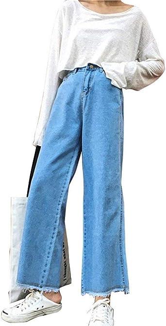 Pantalones De Mujer Pantalones Pantalones Pantalones Vaqueros Anchos Vaqueros Modernas Casual Elegantes Pantalones Casual Botones Delanteros Pantalones Anchos De Pierna Amazon Es Ropa Y Accesorios