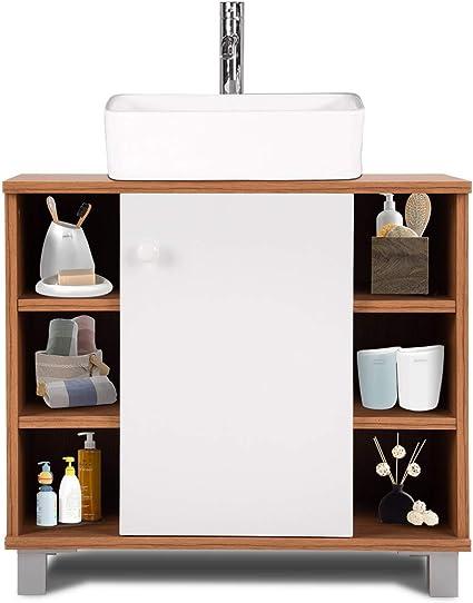 COSTWAY Mueble para Debajo de Lavabo con Puerta y Compartimentos Baño Armario Almacenamiento Toalla Estante: Amazon.es: Hogar
