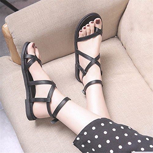 YMFIE Toe Playa Correa Moda Sandalias Calzado Inferior Antideslizante Toe Transversal cómoda black Plana de Verano señoras de BxBdqZwrzn