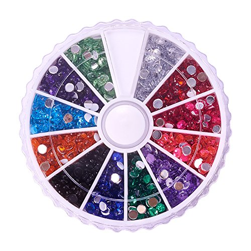 - PandaHall Elite About 1400Pcs 1 Box 12 Color 3mm Faceted Flat Round No Hot Fix Acrylic Rhinestones Glitter Decorations 3D Diamond Gems for Cell Phone Nail Art