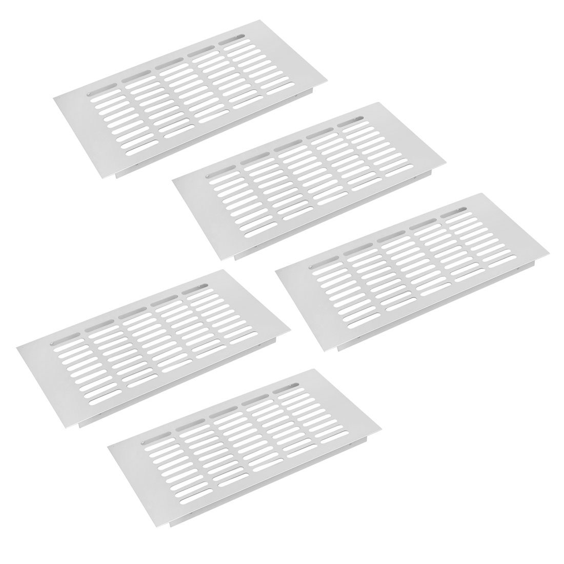 uxcell 5pcs 300mmx150mm Aluminum Alloy Air Vent Louvered Grill Cover Ventilation Grille