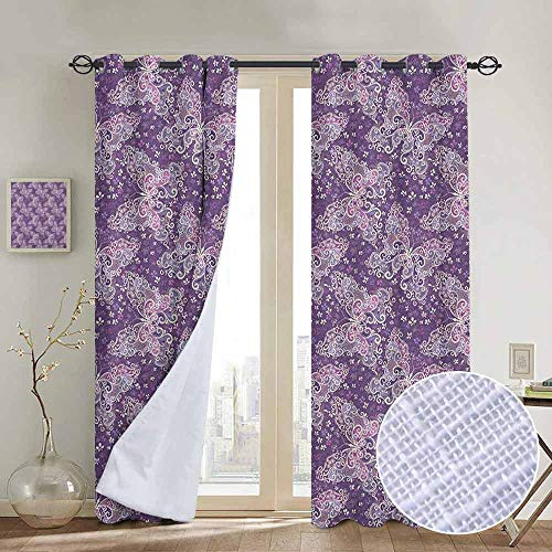 Lilac Gingham Liner - NUOMANAN Room Darkening Wide Curtains Butterfly,Abstract Nature Image Lines and Swirls Floral Arrangement Valentines Day, Violet Lilac White,Light Blocking Drapes with Liner 52