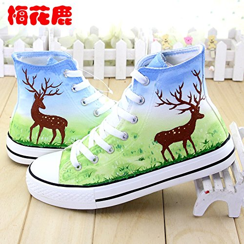 Shoes Shoes Shoes High Spring Shoes Painted Shoes Canvas Fresh Shoes Help In GUNAINDMXHand color Deer Sika Shoes Cashmere the Thickening Ew6XIqq