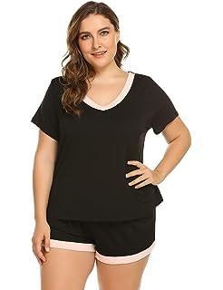 03810660af2 IN VOLAND V-Neck Sleepwear Short Sleeve Pajama Set Nightwear Pjs for Women  Plus