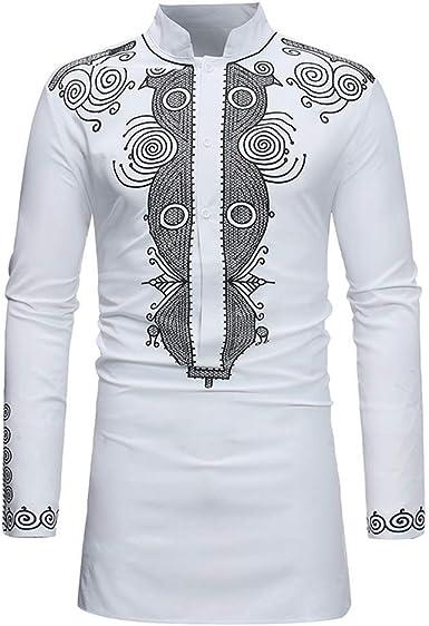 BOLAWOO Camisa Hombre Tops Diario Blusa Lujoso Elegante Africano Estampado Mode De Marca Manga Larga Dashiki Outwear Otoño Invierno (Color : X-White, Size : 2XL): Amazon.es: Ropa y accesorios