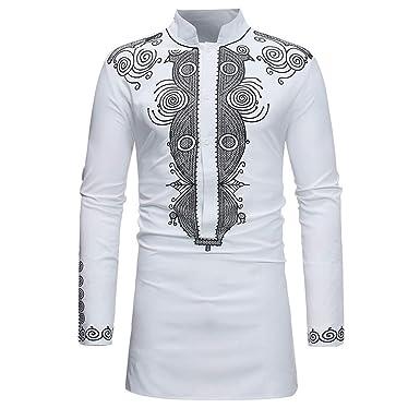Glaiidy Camisa Hombre Tops Blusa Festiva Diario Ropa Elegante Lujoso Africano Estampado Manga Larga Dashiki Outwear Otoño Invierno (Color : X-White, Size : XL): Amazon.es: Ropa y accesorios