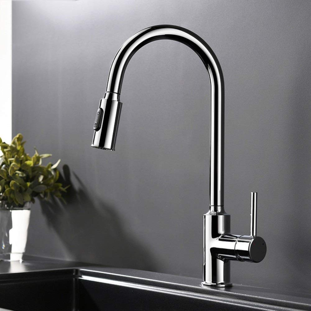 FAMILYA Copper Single Handle Kitchen Faucet Universal Tube Pull Faucet Sink Sink Hot and Cold Water Mixer by FAMILYA