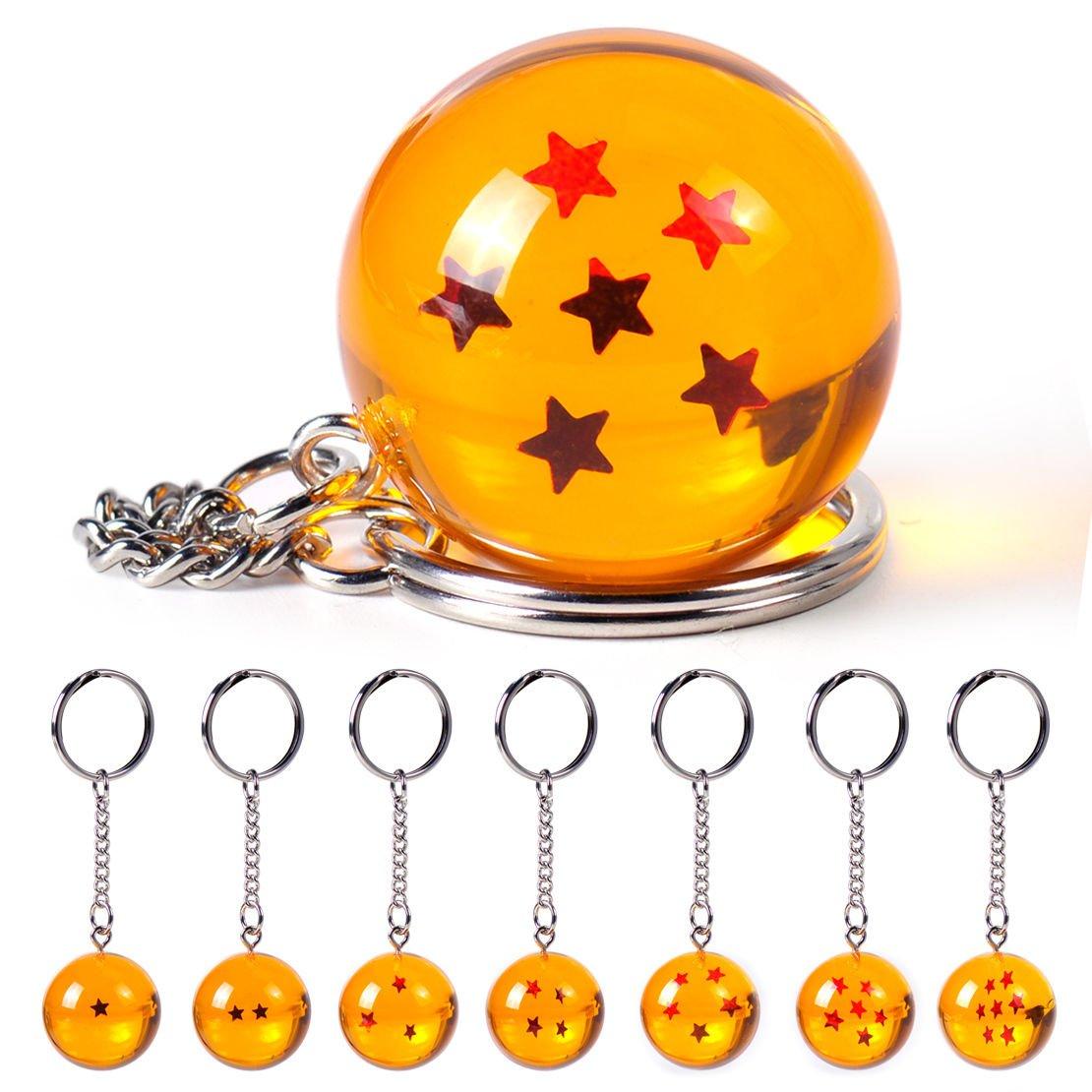 Llavero Netronic, acrílico, 2,7 cm, diseño de estrellas de Dragon Ball Z, 6 stars