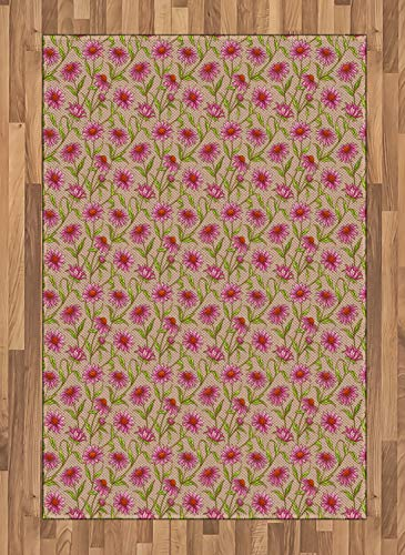 Lunarable Echinacea Area Rug, Floral Pattern of Cone Flowers Leaves and Petals, Flat Woven Accent Rug for Living Room Bedroom Dining Room, 4' X 5.7', Cocoa Pink Burnt Orange Apple Green