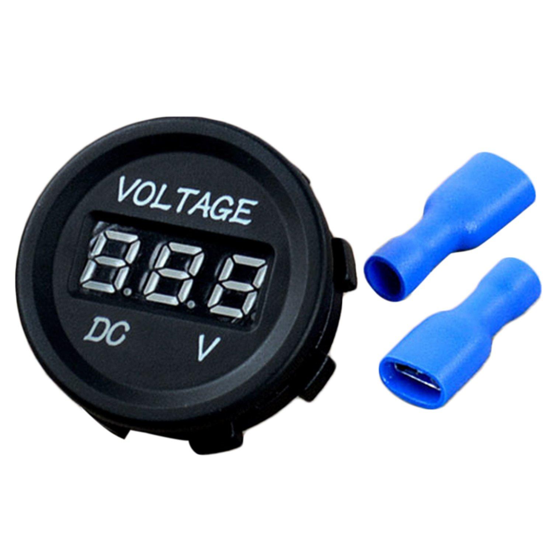 Vococal Voltmetre 12V, DC 12-24V LED Afficheur Numé rique Voltmè tre Volt Mè tre avec Bornes pour Voitures Automobiles Vé hicule de Bateau de Camion de Moto P201802250016