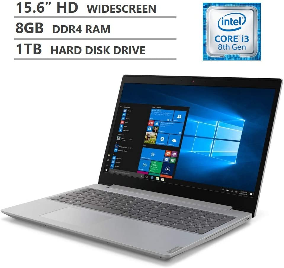 "Lenovo Ideapad L340 Laptop, 15.6"" HD Non-Touchscreen, Intel Core i3-8145U Processor up to 3.90GHz, 8GB DDR4 RAM, 1TB HDD, DVD-RW, HDMI, Wireless-AC, Bluetooth, Windows 10 Home, Platinum Gray"