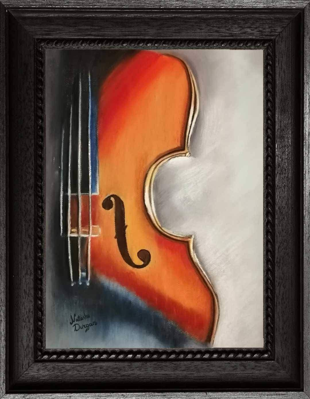 Violin Painting Abstract Violin Art Painting Of A Violin Pastel Chalk Painting Of Art Music Instrument Painting Classic Violin Art Amazon Co Uk Handmade