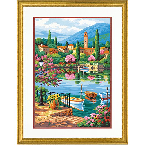 Dimensions 73-91661 Village Lake Afternoon Paint by Numbers for Adults, 14'' W x 20'' L