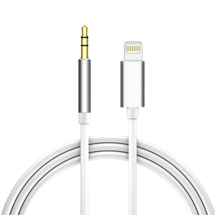 Aux Cord for iPhone,Apple MFi Certified Lightning to 3.5mm Male Stereo Audio Cable Adapter Compatible with iPhone 12/12 Pro/11/XS/XR/X/8/7/6/iPad to Car/Home Stereo,Speaker,Headphone (3.3Ft,White)