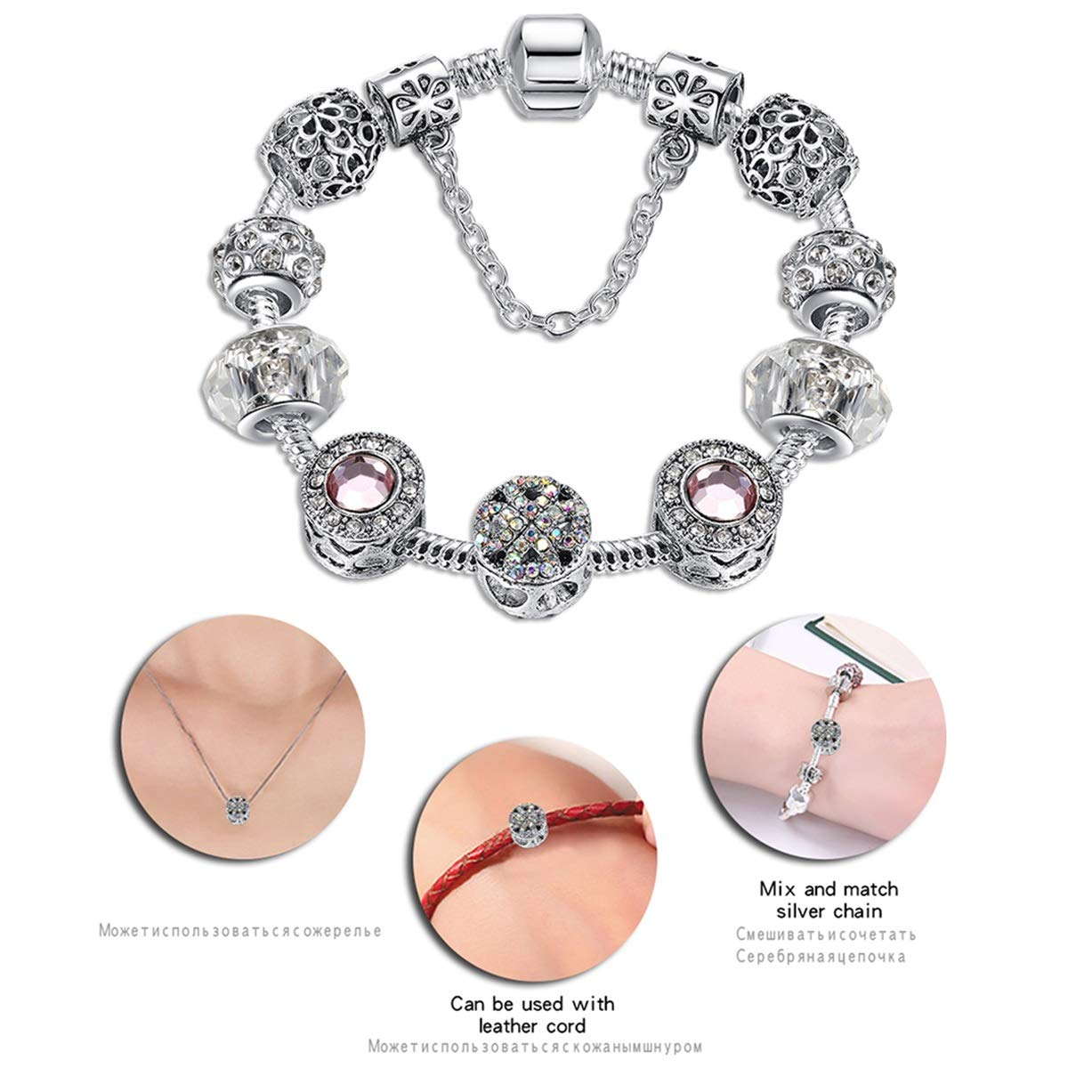 Original Silver 925 Crystal Four Leaf Clover Bracelet with Clear Murano Glass Beads Charm Bracelet Bangle for Women DIY Jewelry PS3866 21cm